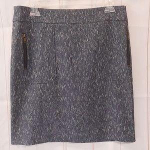 Ann Taylor Navy Blue Tweed Zipper Stretch Skirt